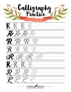 Letter R Calligraphy Practice Tracing Page