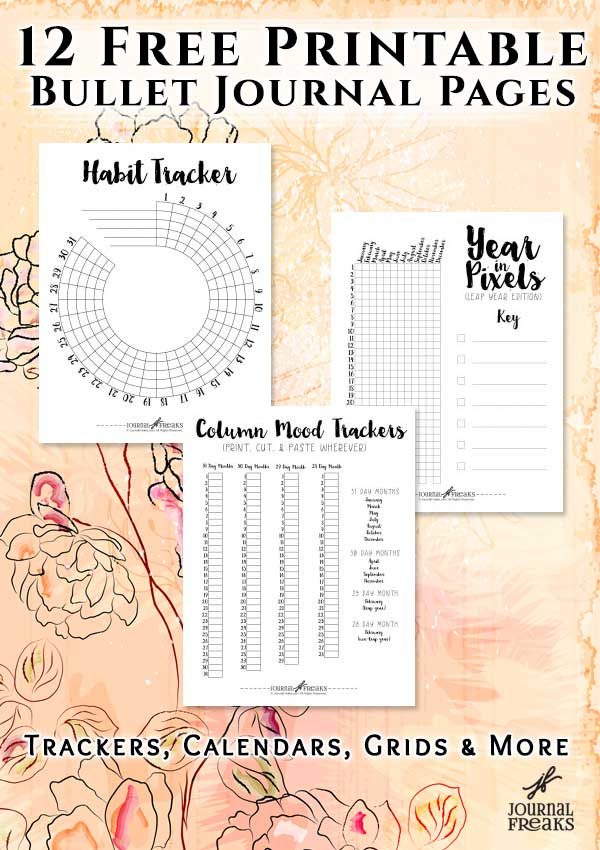 This is a graphic of Free Printable Bullet Journal inside template