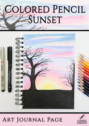 Colored Pencil Sunset | Art Journal Page