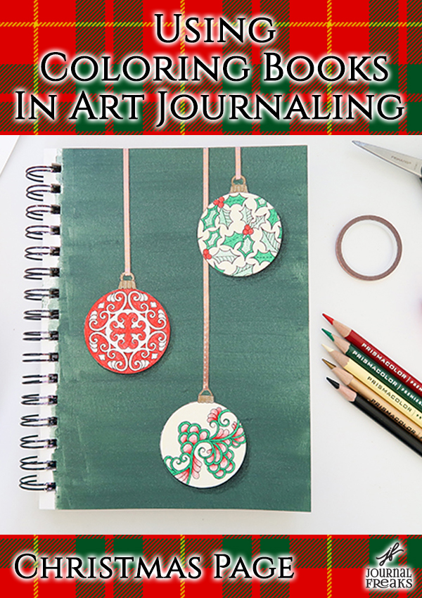 Using Coloring Books In Art Journaling | Christmas Page